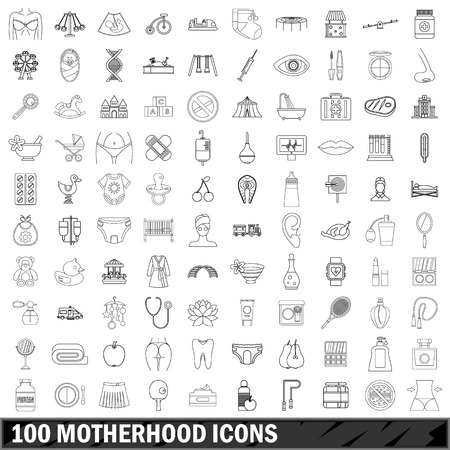 prick: 100 motherhood icons set in outline style for any design vector illustration