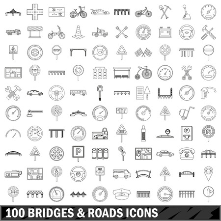 100 bridges and roads icons set in outline style for any design vector illustration Иллюстрация