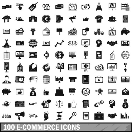 simple: 100 e-commerce icons set, simple style