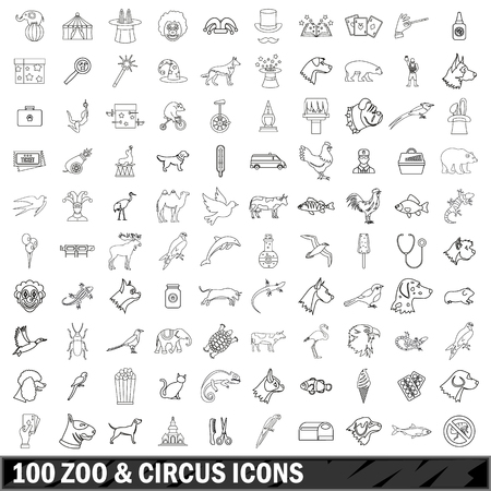 scamp: 100 zoo and circus  icons set, outline style Illustration