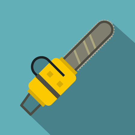 Yellow chainsaw icon, flat style Illustration