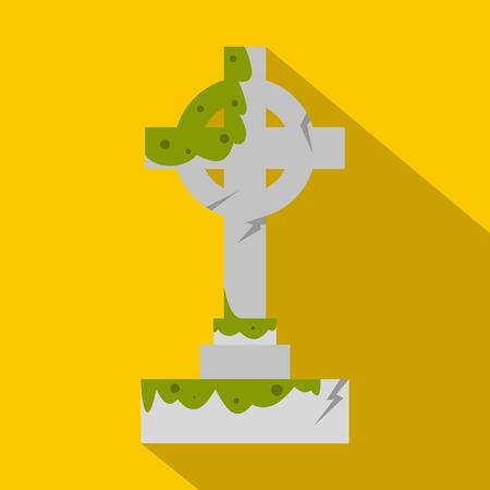 Irish celtic cross with green slime icon