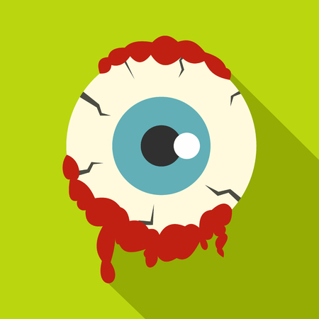 Zombie eyeball icon, flat style