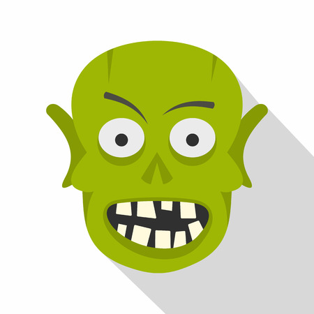 Green zombie head icon, flat style Illustration