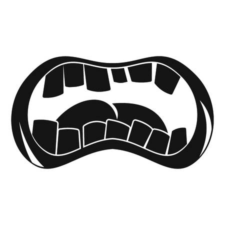 Zombie mouth icon, simple style Illustration