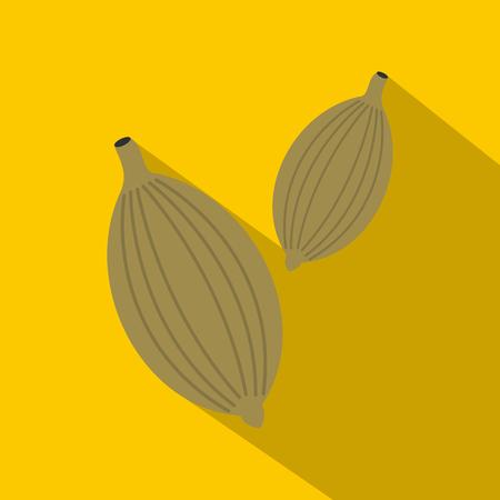 Green cardamom pods icon, flat style Illustration