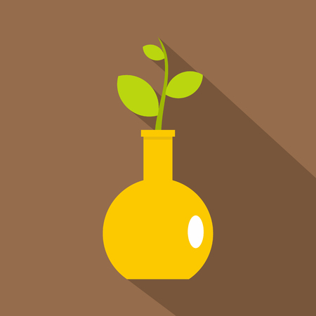 Green plant in a yellow vase icon, flat style