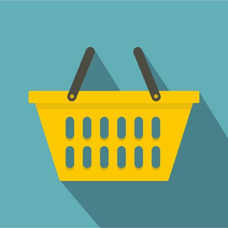 retail equipment: Yellow plastic shopping basket icon, flat style