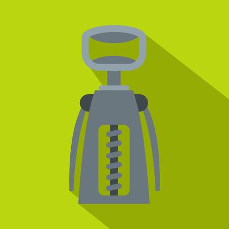 Metal corkscrew icon, flat style