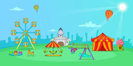 Circus horizontal banner landscape, cartoon style Ilustrace