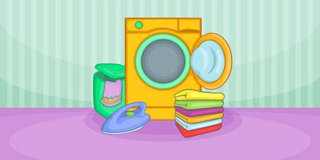 scrubbing: Cleaning horizontal banner wash, cartoon style Illustration
