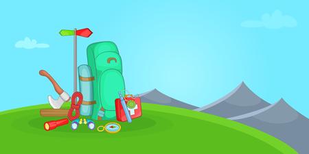 Camping horizontal banner hill, cartoon style