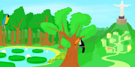 southamerica: Brazil horizontal banner forest, cartoon style