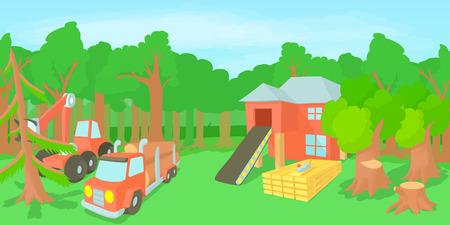 logging: Logging horizontal banner, cartoon style