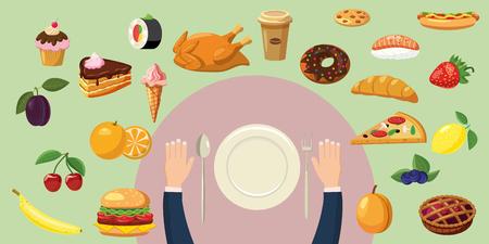 food plate: Food horizontal banner plate, cartoon style