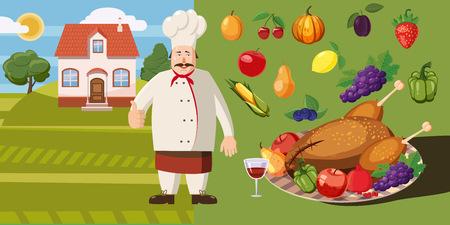 Food horizontal banner cook, cartoon style
