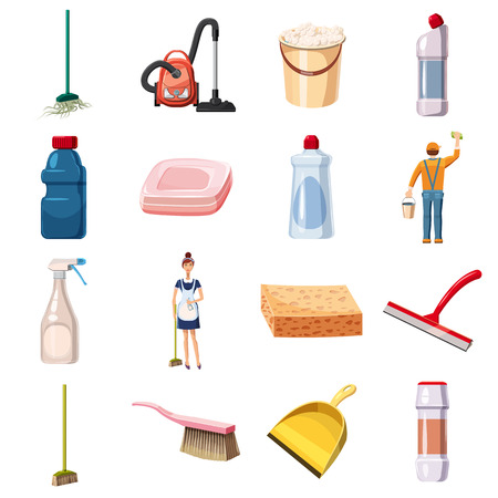 squeegee: Cleaning icons set detergents, cartoon style