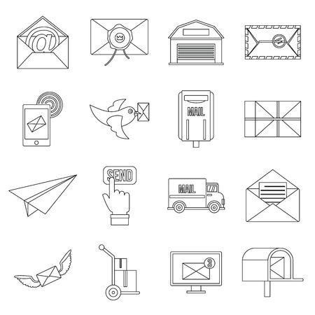 carrier pigeons: Poste service icons set, flat style Illustration