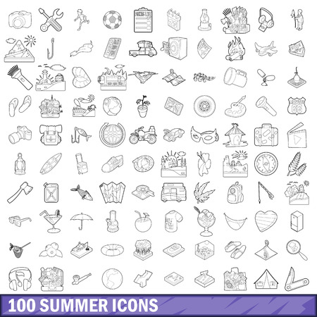 100 summer icons set in outline style for any design vector illustration Illustration