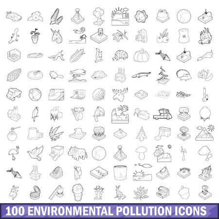 precipitate: 100 environmental pollution icons set in outline style for any design vector illustration