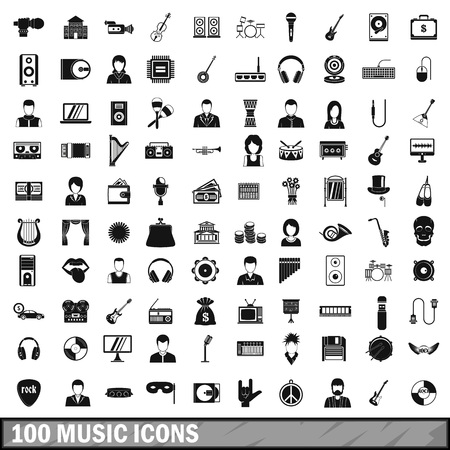 tenor: 100 music icons set in simple style for any design vector illustration