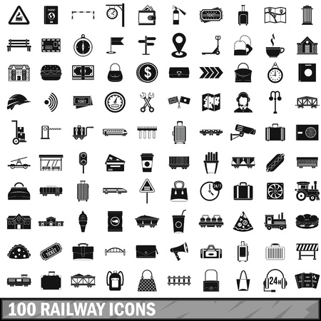 conditioned: 100 railway icons set in simple style for any design vector illustration