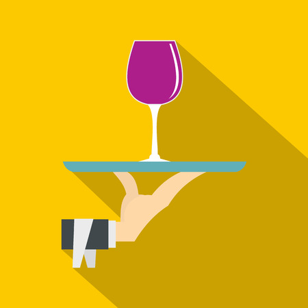 Hand holding tray with a glass of red wine icon. Flat illustration of hand holding tray with a glass of red wine vector icon for web isolated on yellow background