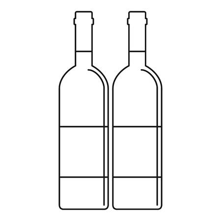 viticulture: Wine bottles with blank labels icon. Outline illustration of wine bottles with blank labels vector icon for web