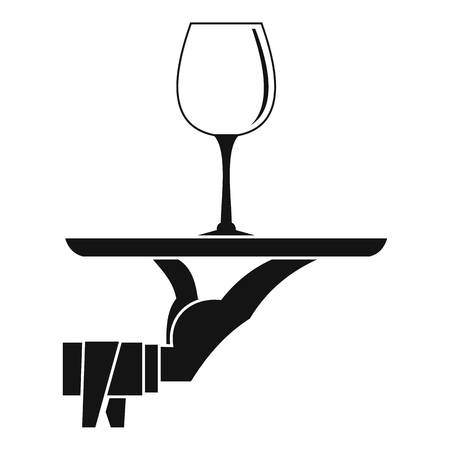 Waiter hand holding tray with wine glass icon. Simple illustration of waiter hand holding tray with wine glass vector icon for web Illustration