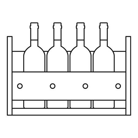 Wine bottles standing in a crate icon. Outline illustration of wine bottles standing in a crate vector icon for web