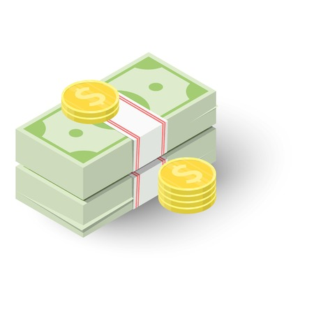 stack of dollar bill: Two stacks of money and coins icon. Isometric 3d illustration of two stacks of money and coins vector icon for web Illustration
