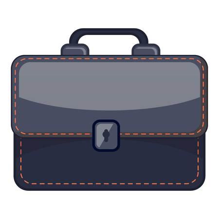 Black briefcase icon. Cartoon illustration of black briefcase vector icon for web