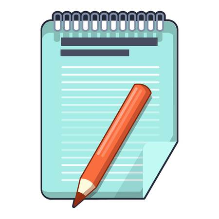Red pencil and notepad icon. Cartoon illustration of red pencil and notepad vector icon for web