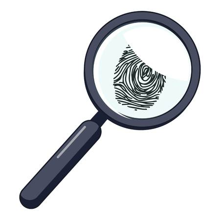 theft proof: Magnifier and fingerprint icon. Cartoon illustration of magnifier and fingerprint vector icon for web