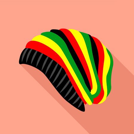 rasta hat: Rasta hat icon. Flat illustration of rasta hat vector icon for web