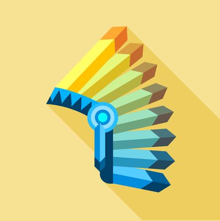 Icona di copricapo di piume indiano. Illustrazione piana dell'icona di vettore del copricapo indiano della piuma per il web Vettoriali