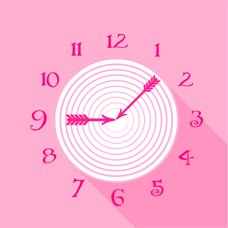 Pink wall clock icon. Flat illustration of pink wall clock vector icon for web Illustration