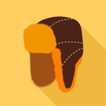 Pelzmütze mit Ohrenklappen-Symbol. Flache Darstellung der Pelzmütze mit Ohrenklappen Vektor-Symbol für das Web