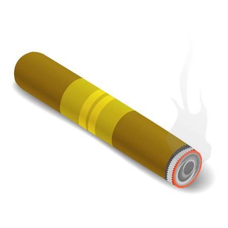 smoldering: Cigar icon. Isometric 3d illustration of cigar vector icon for web Illustration