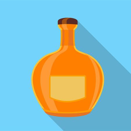 balsam: Orange glass bottle icon. Flat illustration of orange glass bottle vector icon for web