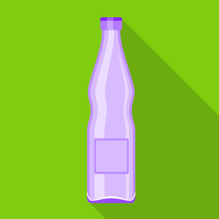 Empty glass bottle icon. Flat illustration of empty glass bottle vector icon for web isolated on lime background Illustration