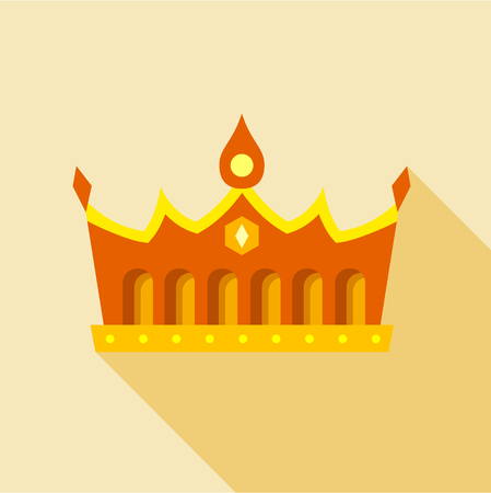 Royal gold crown icon. Flat illustration of royal gold crown vector icon for web Illustration