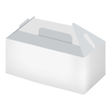 chinese take away container: White take out box mockup. Realistic illustration of empty white take out box vector mockup for web