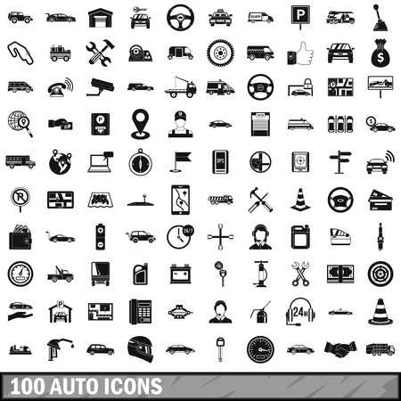 hearse: 100 auto icons set, simple style
