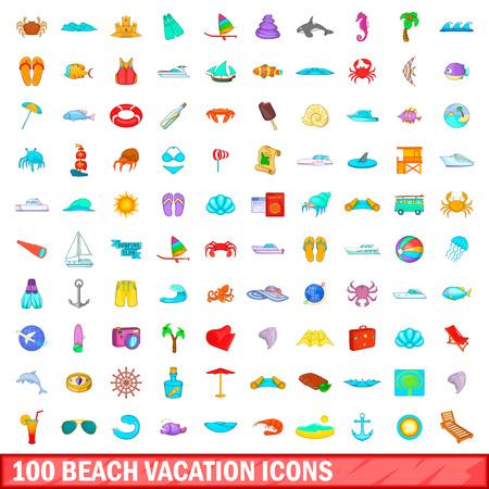 100 beach vacation icons set, cartoon style