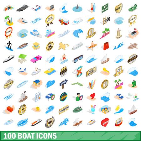 100 boat icons set, isometric 3d style Illustration