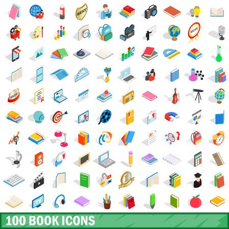 nonfiction: 100 book icons set, isometric 3d style Illustration