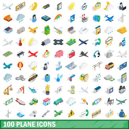 100 plane icons set, isometric 3d style Illustration