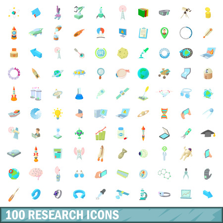 chemic: 100 research icons set, cartoon style Illustration