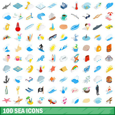 swimming candles: 100 sea icons set, isometric 3d style